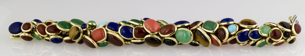 Seaman Schepps Retro Design Multi-Gemstone Gold Bracelet 2