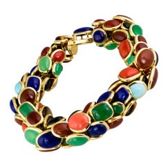 Seaman Schepps Retro Design Multi-Gemstone Gold Bracelet