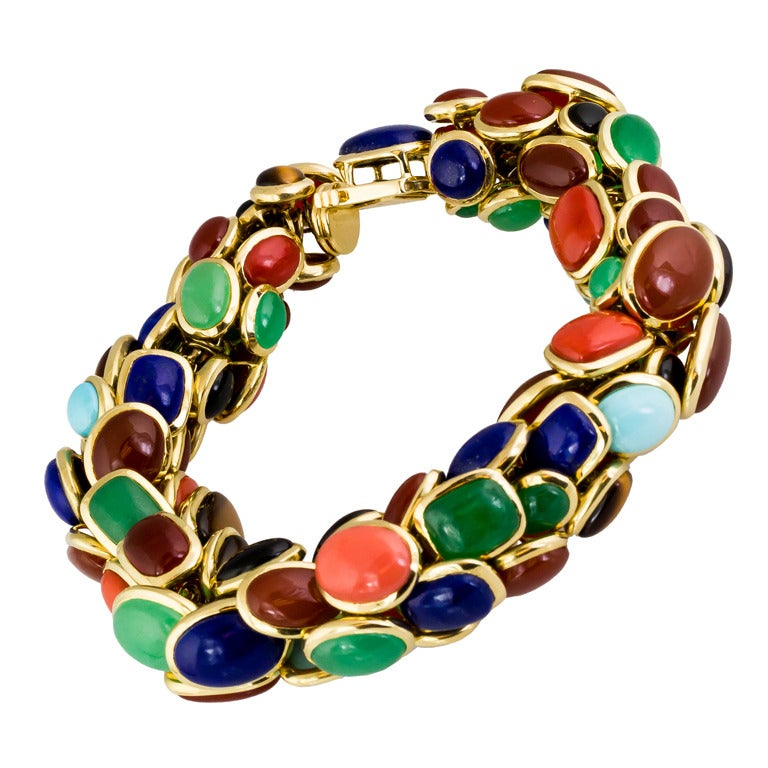 Seaman Schepps Retro Design Multi-Gemstone Gold Bracelet 1