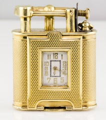 DUNHILL Rare Gold Engine Turned Watch Lighter