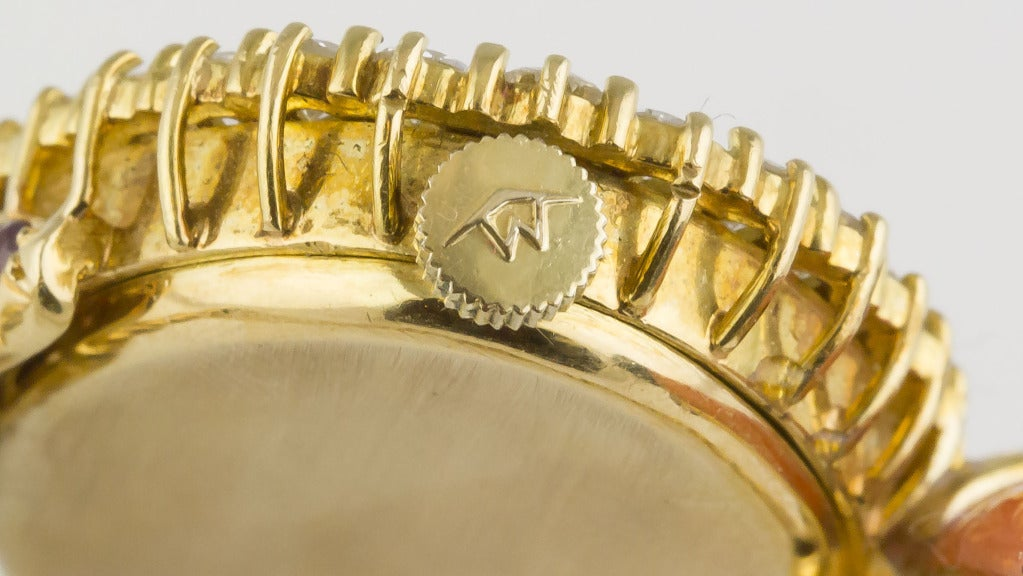 Movado Coral Onyx Ruby Diamond Gold Bracelet Watch At 1stdibs