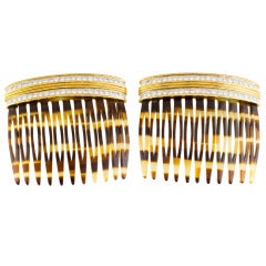 Cartier Two Diamond Gold Platinum Hair Combs