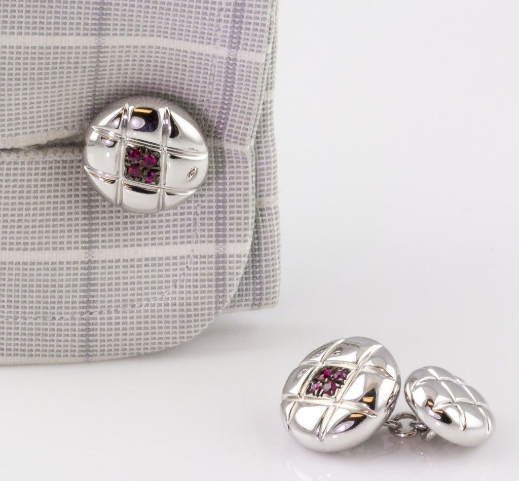 De Grisogono Ruby White Gold Quilted Button Cufflinks For Sale 1