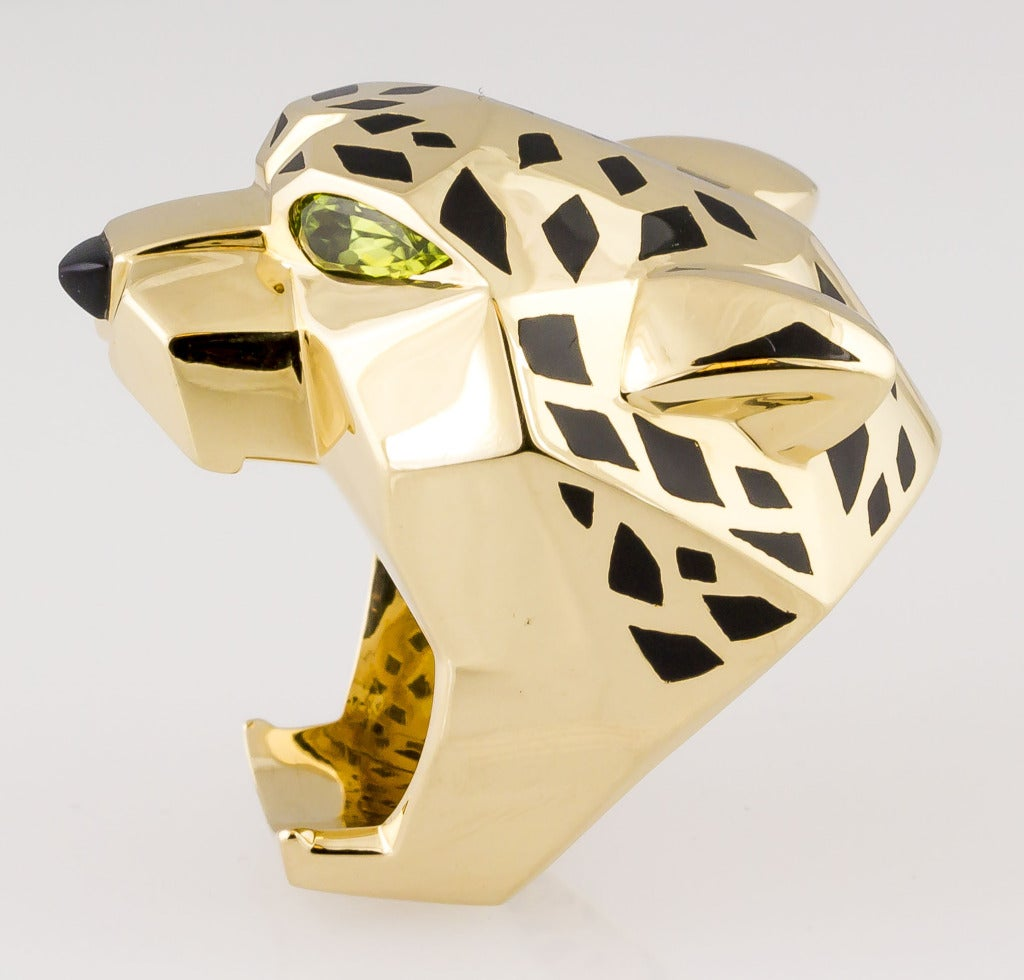 Cartier Panthere Lacquer Onyx Peridot Gold Ring Size 64 At