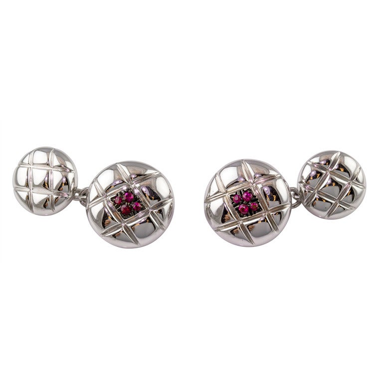 De Grisogono Ruby White Gold Quilted Button Cufflinks For Sale