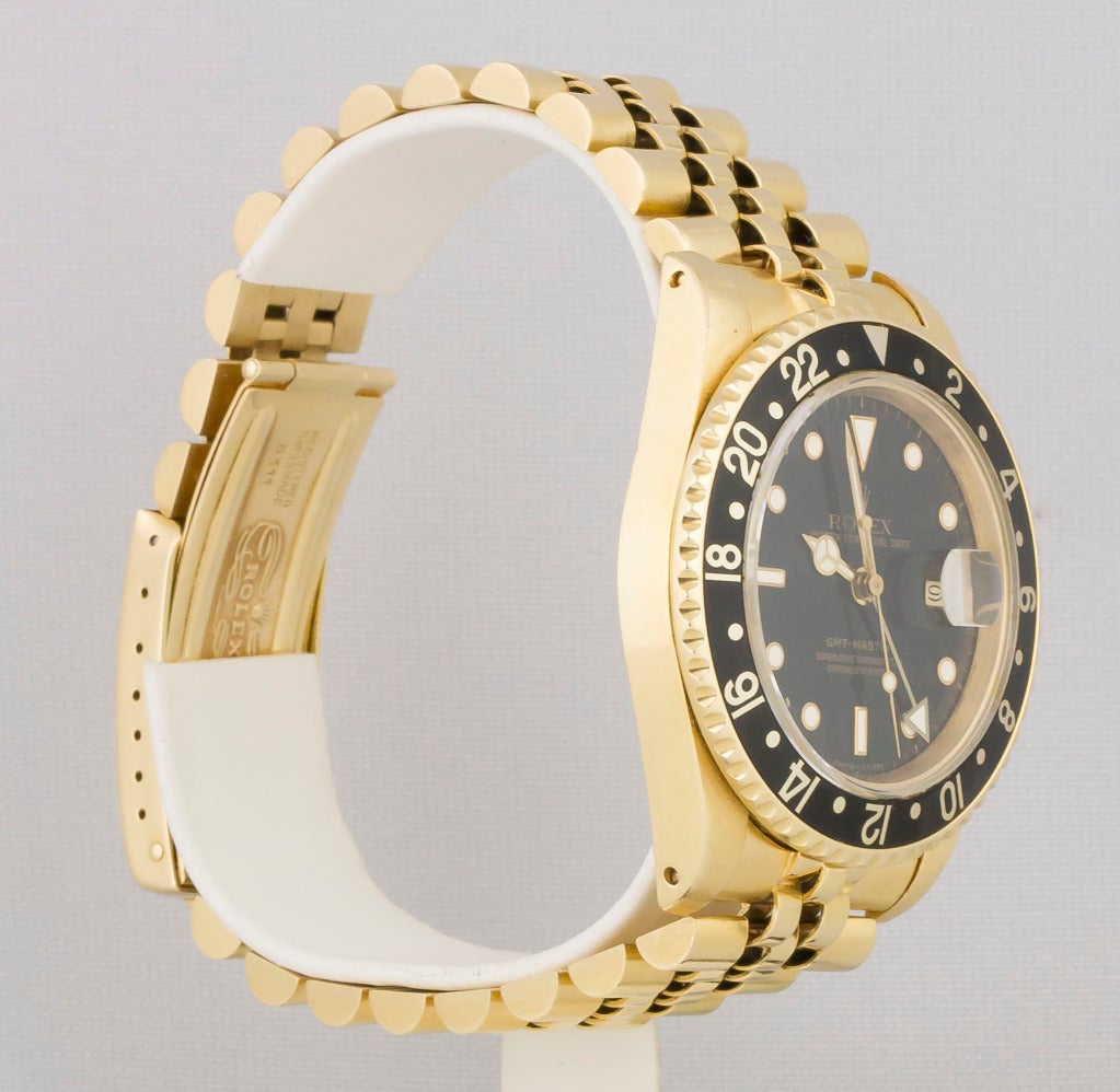 Rolex Yellow Gold GMT Master Jubilee Bracelet Automatic Wristwatch In Good Condition For Sale In New York, NY