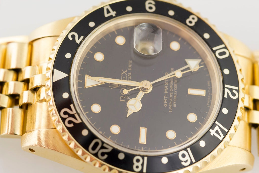 Rolex Yellow Gold GMT Master Jubilee Bracelet Automatic Wristwatch For Sale 5