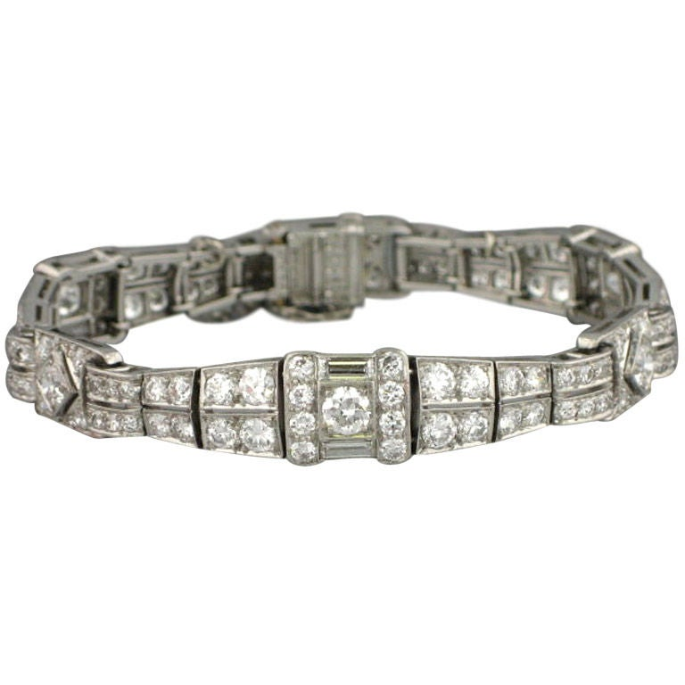 TIFFANY and CO Art Deco 1920s Platinum Diamond Bracelet at 1stdibs