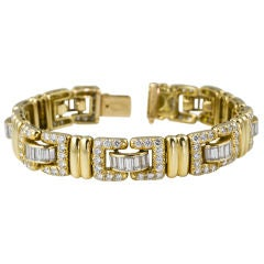 Tiffany & Co. French 18 Karat Yellow Gold 11 Carat Diamond Bracelet