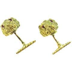 DAVID WEBB 18k Gold Enamel Lion Head Cufflinks