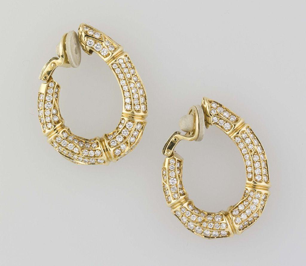 Cartier Diamond Gold Bamboo Hoop Earrings Clips 2
