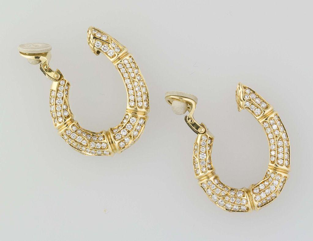 Cartier Diamond Gold Bamboo Hoop Earrings Clips 3