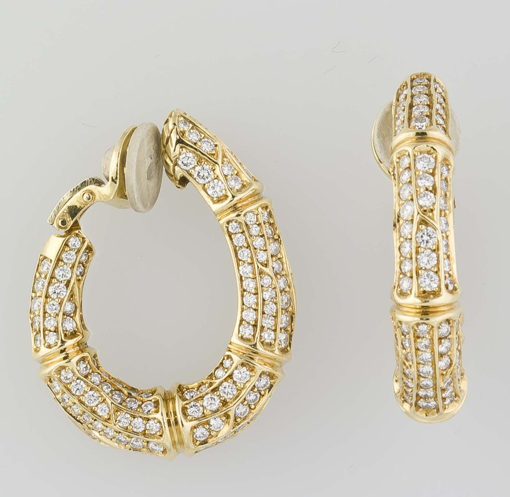 cartier gold bamboo hoop earrings at 1stdibs