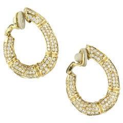 CARTIER Diamond Gold Bamboo Hoop Earrings Clips
