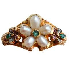 Georgian Pearl and Gem Set Flower Ring