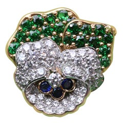 TIFFANY & CO. Diamond and Tsavorite Pansy Brooch