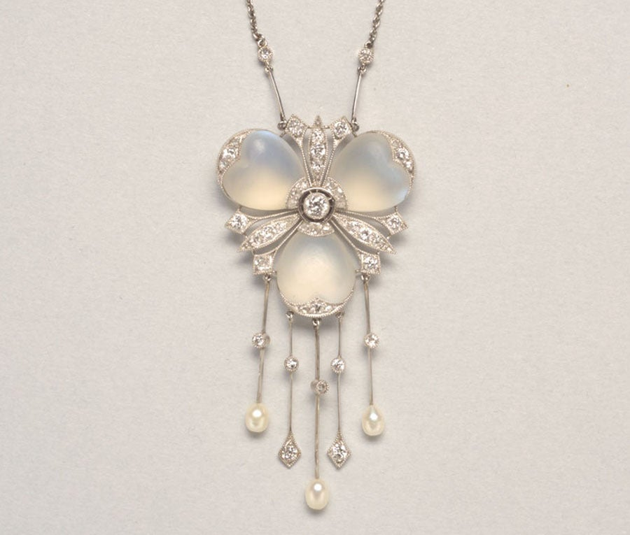 A Delicate Diamond and Moonstone Platinum Pendant 2