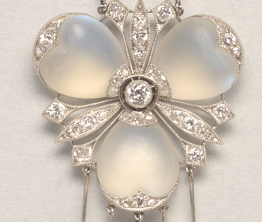 A Delicate Diamond and Moonstone Platinum Pendant 3