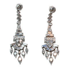 Diamond and Platinum Chandelier Earrings