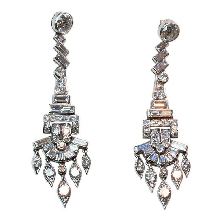 Diamond and Platinum Chandelier Earrings