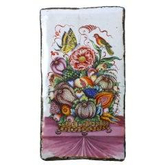 17th Century Flower Basket Enamel Plaque