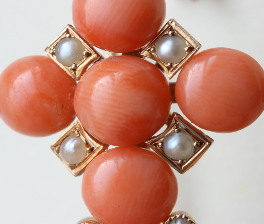 Women's French 19th Century Coral and Pearl Cross Earrings For Sale