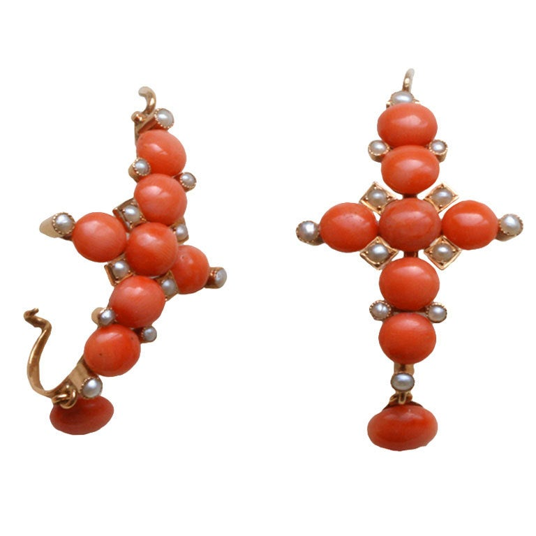 French 19th Century C And Pearl Cross Earrings For
