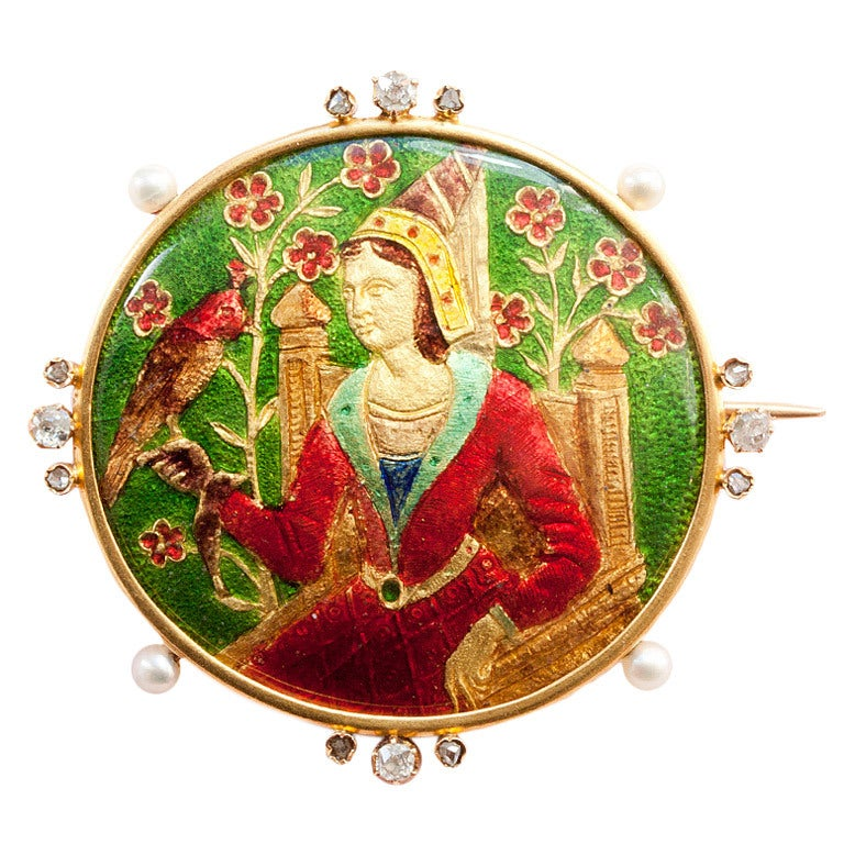 Lady With A Falcon Basse Taille Enamel Brooch At 1stdibs