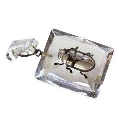 Rock Crystal Beetle Pendant