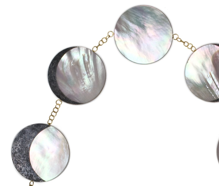 Contemporary PHILIP SAJET Silver Gold and Mother of Pearl Eclipse Necklace For Sale