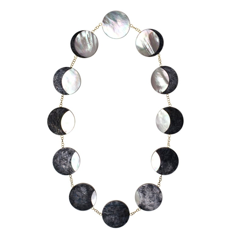 PHILIP SAJET Silver Gold and Mother of Pearl Eclipse Necklace 1