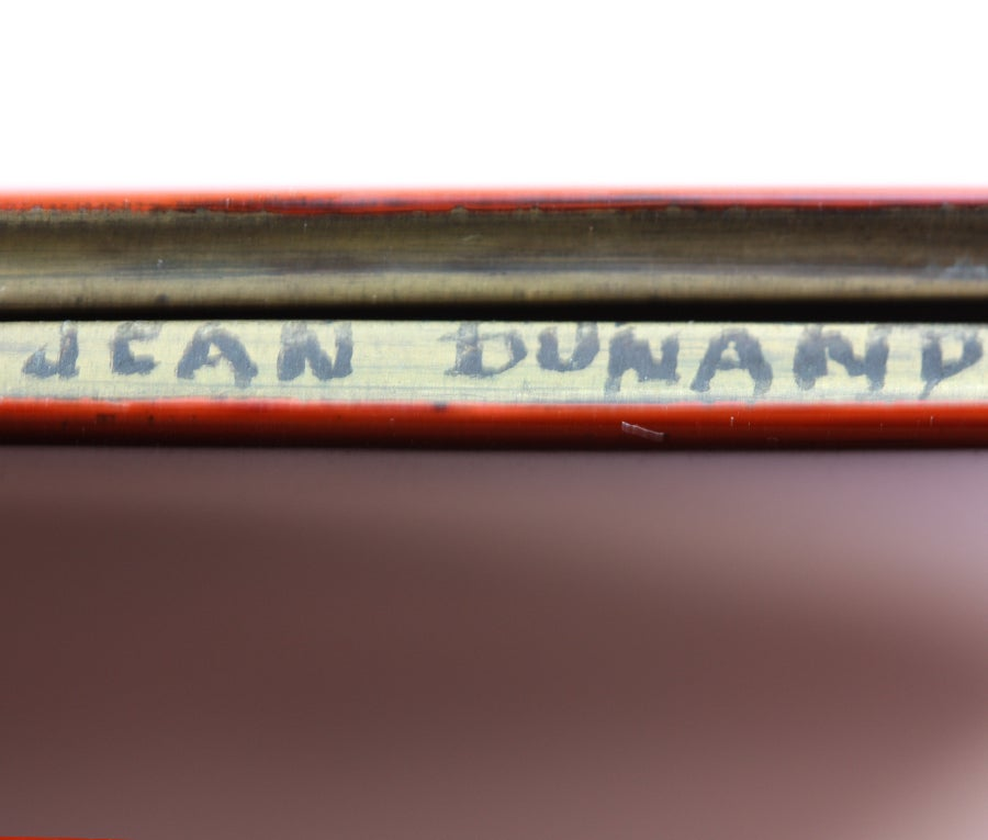 JEAN DUNAND Enamel and Metal Cigarette Box For Sale 1
