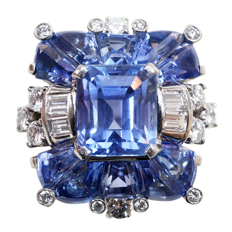 OSCAR HEYMAN Sapphire and Diamond Ring at 1stdibs
