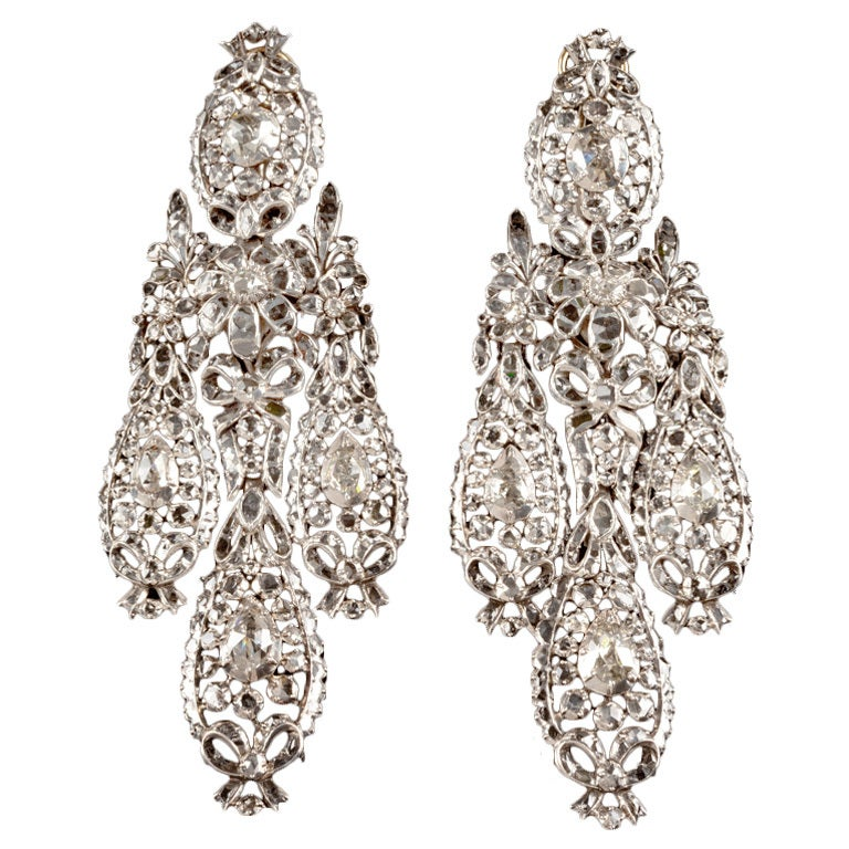 Important Diamond Girandole Earrings For Sale