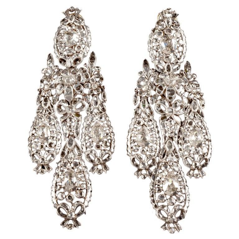 Important Diamond Girandole Earrings
