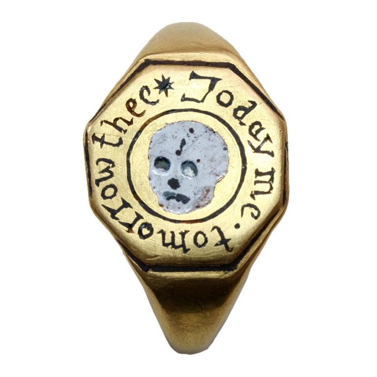 Important Memento Mori Skull Ring Today Me Tomorrow Thee