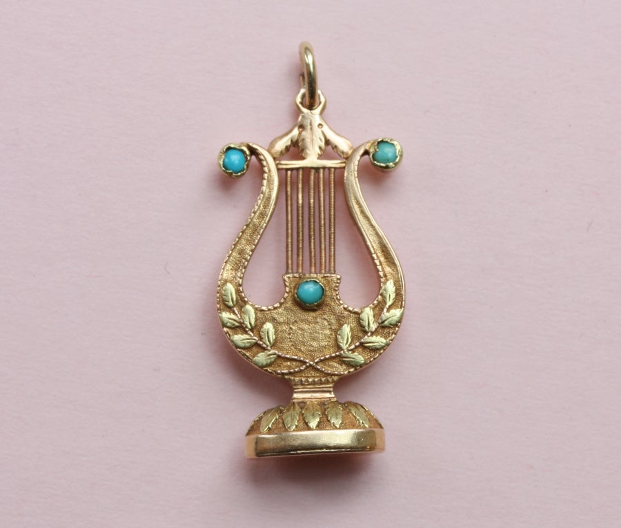 Two colored gold lyre pendant 39 gage d 39 accord parfait 39 at for The triumph of love jewelry 1530 1930
