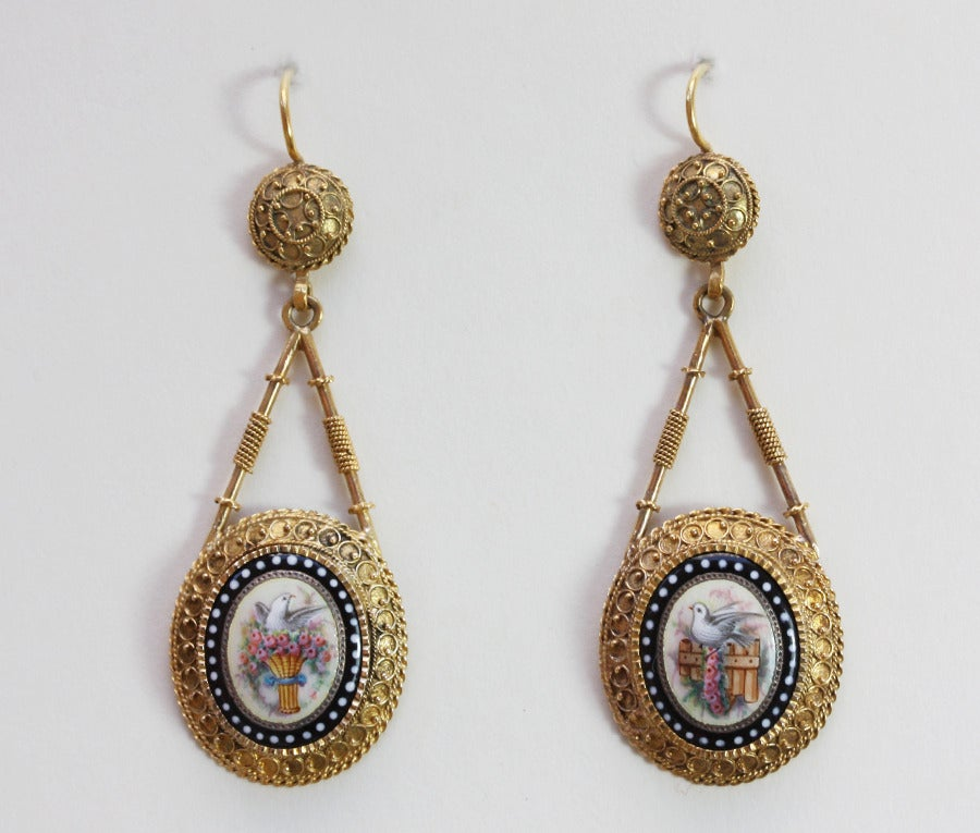 Romantic Gold and Enamel Earrings 2