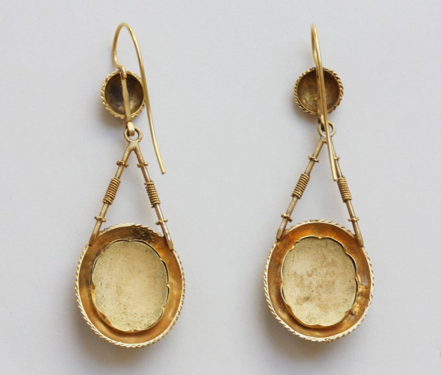 Romantic Gold and Enamel Earrings 3