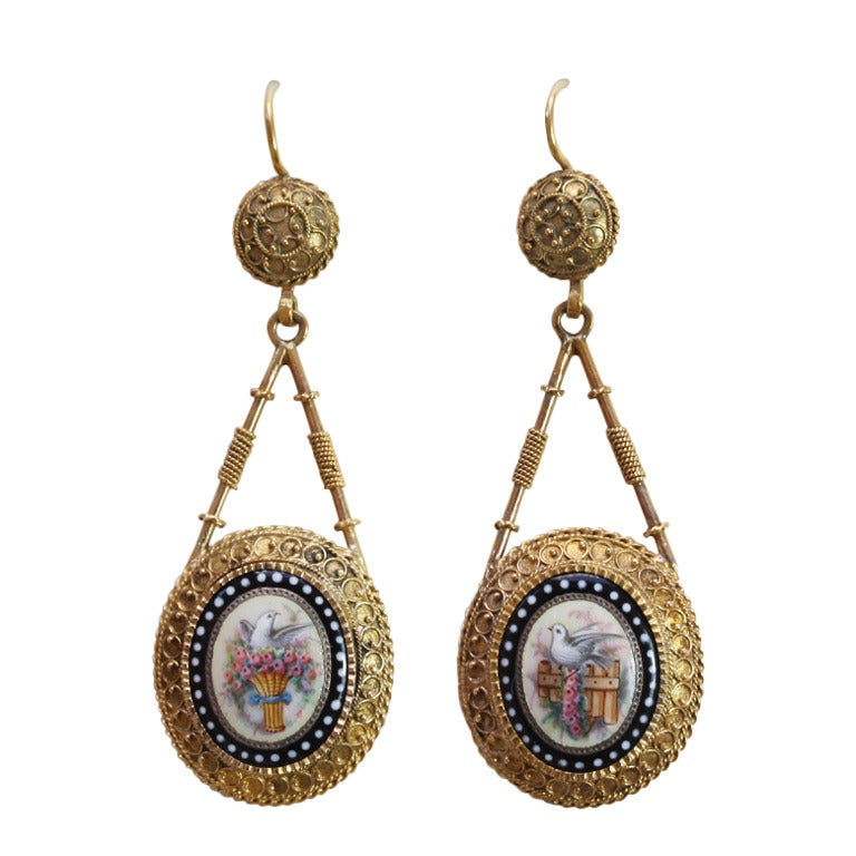 Romantic Gold and Enamel Earrings 1