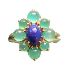 BOUCHERON Lapis and Agate Gold Ring