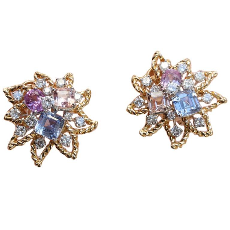 Oscar Heyman Colored Sapphire Diamond Earclips at 1stdibs