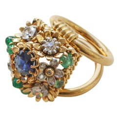 Marchak Emerald, Sapphire and Diamond and Gold Flowerbasket Ring