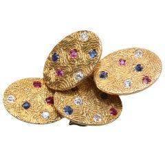 Beautiful gem set and gold cufflinks
