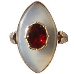 18th century garnet and chalcedony  ring