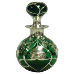 Large Green Glass And Sterling Overlay Perfume Bottle Circa 1905