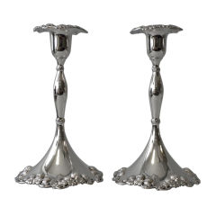 Pair of TIFFANY & CO. Sterling CLOVER PATTERN Candlesticks, 1899