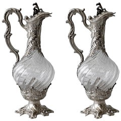 V. Boivin, French Silver And Crystal Decanters, Circa 1900