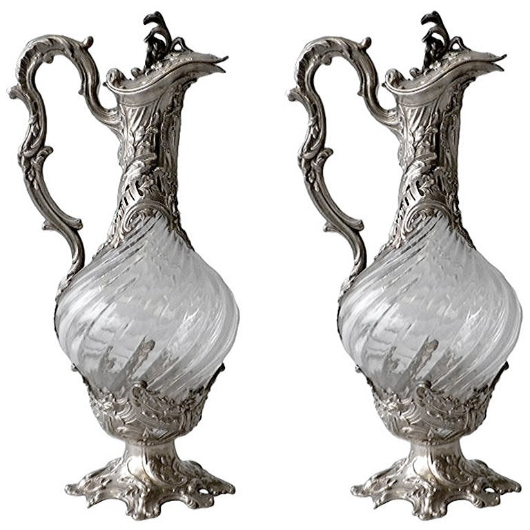 V. Boivin, French Silver And Crystal Decanters, Circa 1900 For Sale