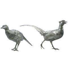 Pair of German Sterling Figural Pheasants, Circa 1920